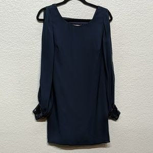 Navy blue dress with sequins detail